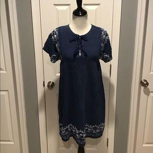 Loft Blue Dress W/ Embroidery